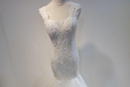 古典雙肩式魚尾婚紗