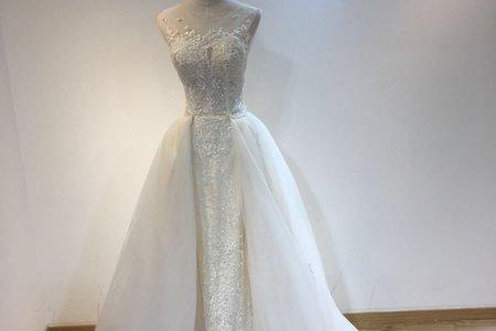雙肩立體鑲珠婚紗