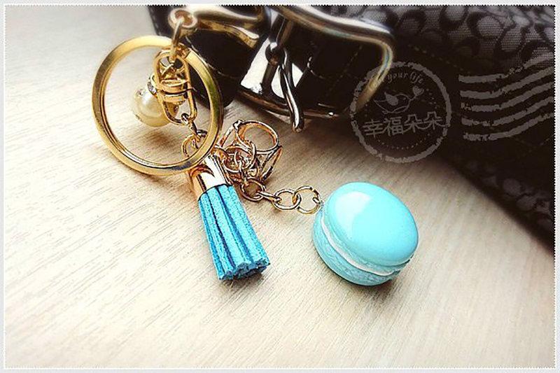 馬卡龍流蘇珍珠鑰匙圈(Tiffany)