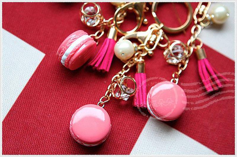 馬卡龍流蘇珍珠鑰匙圈(粉紅盒)