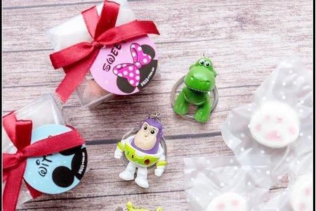 透明盒裝 玩具總動員鑰匙圈+貓爪棉花糖