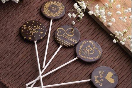 手作燙金婚禮巧克力棒棒糖 (10入/組)