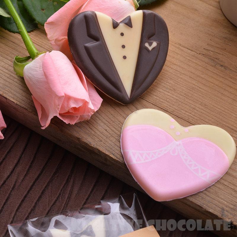 愛心西裝婚紗造型巧克力 (10入/組)作品