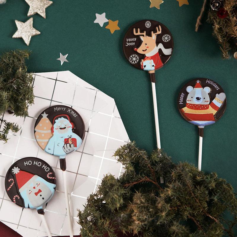 卡通聖誕經典限定款巧克力棒棒糖作品