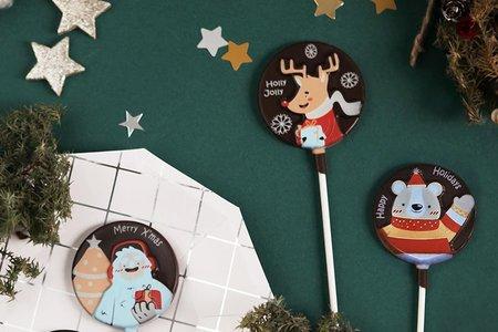 卡通聖誕經典限定款巧克力棒棒糖-4款式