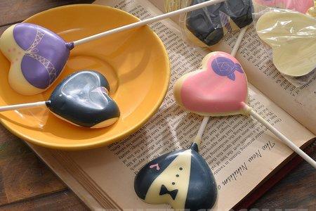 愛心西裝婚紗巧克力棒棒糖(10入/組)