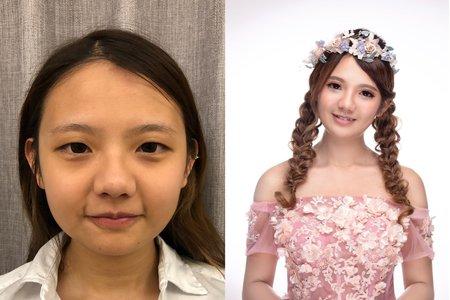 黎兒新娘秘書 噴槍底妝-眼型調整、甜美花兒造型