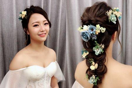 黎兒新娘秘書 噴槍底妝-乾燥花浪漫編髮 眼型調整