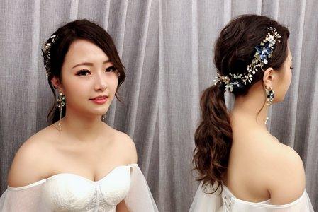 黎兒新娘秘書 噴槍底妝-韓風簡約低馬尾、眼型調整