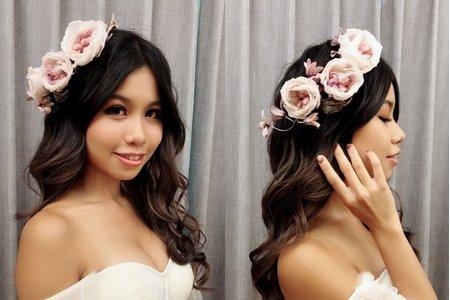 黎兒新娘秘書 噴槍底妝-浪漫花花造型 精緻眼妝