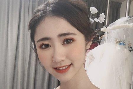 黎兒新娘秘書 噴槍底妝 - 韓風妝感優雅短髮低盤髮 耳下短髮不接髮造型