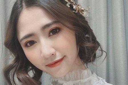 黎兒新娘秘書 噴槍底妝 - 絕美韓風 肩上短髮新娘 精緻眼妝