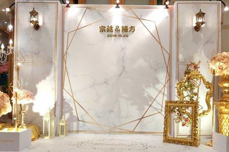 簡約歐風大理石紋背板婚禮佈置