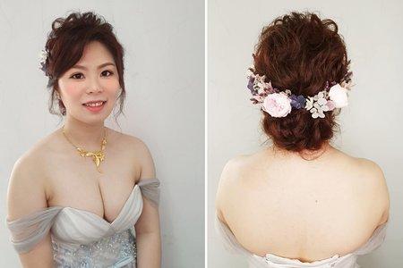 168.婚宴現場鬆動柔和線條低盤髮 文定 造型