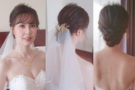 婚宴作品 慈萍 一進場造型 甜美低盤髮