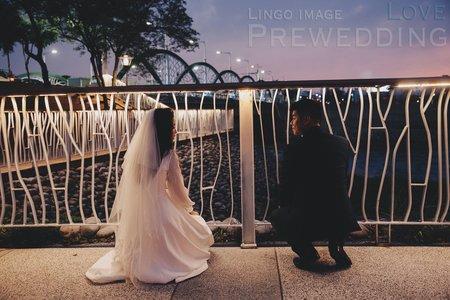 【美式婚紗】夕陽晚霞與夜空,河堤公園散步中