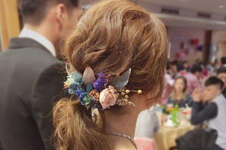 台南新娘秘書/雅娟新娘/低馬尾乾燥花