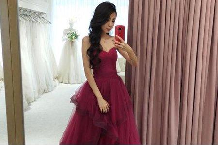 [禮服精選] 不規則桃色裙擺-修飾曲線
