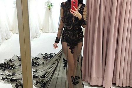 [禮服精選] 性感黑色裸紗