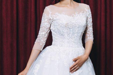 [禮服精選] 素雅細緻-蕾絲白紗