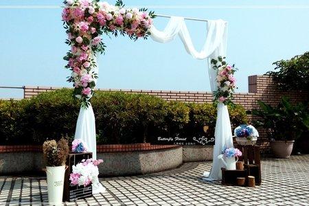 美式仿真花幔紗拱門證婚亭