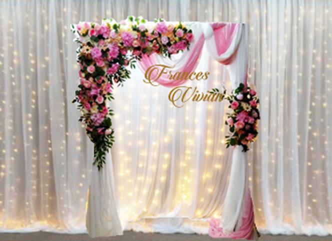 瀑布燈幔 搭配 美式幔紗拱門作品