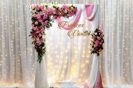 瀑布燈幔 搭配 美式幔紗拱門