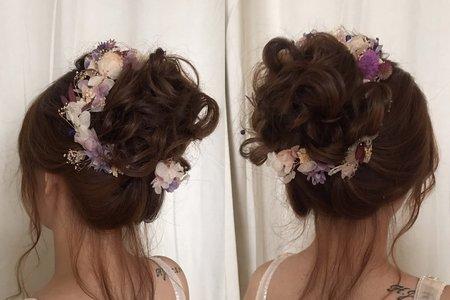 日系浪漫花苞盤髮