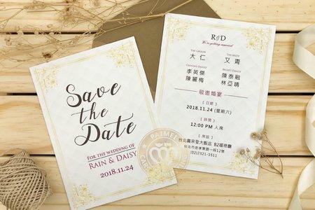 M4621《巴哈的小步舞曲》美式明信片婚卡(彩印版)