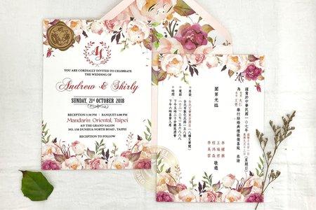 E7201《庫肯霍夫花園》手繪水彩婚卡(含專屬信封內襯)