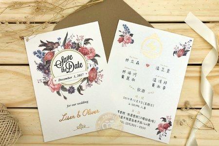 M7605《科瑪花園》美式明信片婚卡(燙金版)