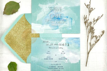 E7203《手繪水彩婚卡(含專屬信封內襯)》