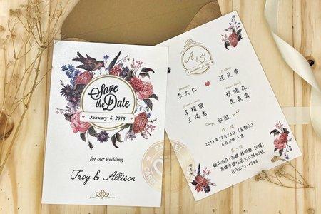 M4605《科瑪花園》美式明信片婚卡(彩印版)