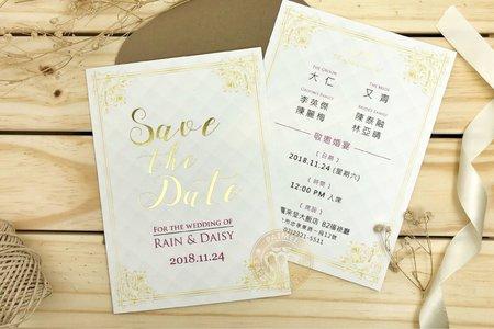 M7621《巴哈的小步舞曲》美式明信片婚卡(燙金版)
