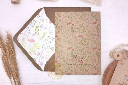 E7205《手繪水彩婚卡(含專屬信封內襯)》
