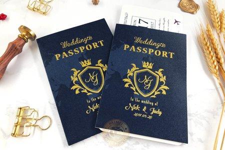 L6512《Wedding Passport 護照型婚卡》海軍藍 (登機證另購)