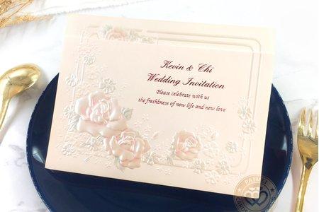 656221P《玫瑰物語》立體浮雕婚卡(粉)