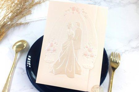 708727《婚禮派對》立體浮雕婚卡(粉)
