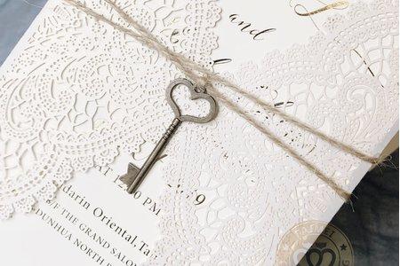 L15006《心·鎖》雷射雕刻喜帖 (心型鑰匙)