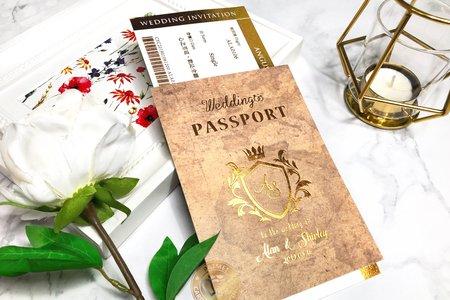 L6513《Wedding Passport 護照型婚卡》紙感地圖 (登機證另購)