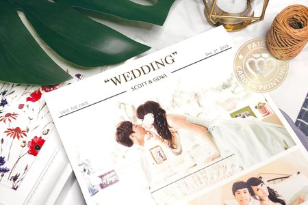 P7533《WEDDING NEWS》歐美婚報三折式喜帖