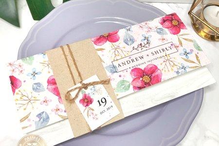 P9003《鮮花盛開》粉色鄉村綁繩封套式喜帖
