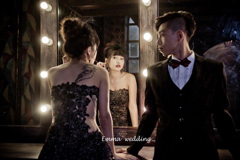 黑禮服、婚紗、妝髮、氣勢、甜美、髮型