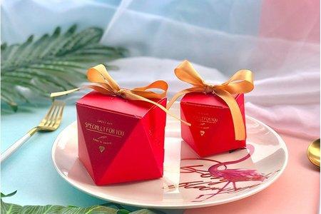 高貴典雅紅色鑽石喜糖盒 立體燙金文字 新