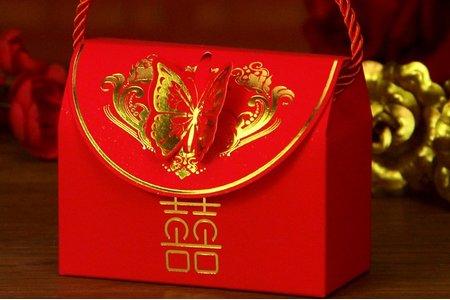 中式提籃蝴蝶喜糖盒 小提籃喜糖盒 現貨