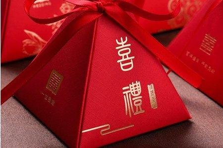 喜氣紅色三角喜糖盒 現貨 1010婚禮品