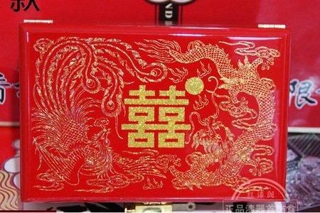 結婚中式首飾盒木質新娘嫁妝結婚梳妝盒喜慶