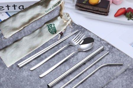 304不銹鋼吸管餐具7件組刻字套裝客制L