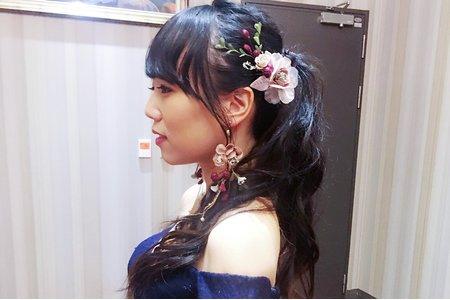 森林系-編髮高馬尾-黑髮新娘造型