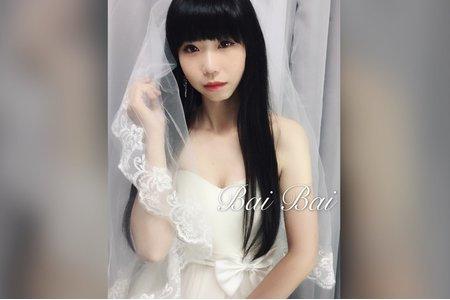 簡約氣質黑髮新娘婚紗造型